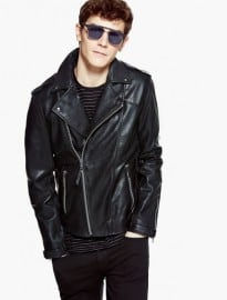 He By Mango Leather Biker Jacket