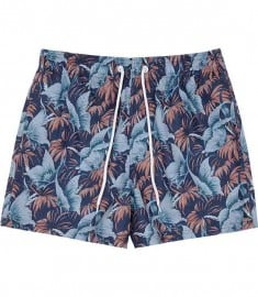 Reiss Ditora Nature Print Swim Shorts Blue