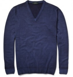 Incotex Zanone Garment-dyed V-neck Wool Sweater