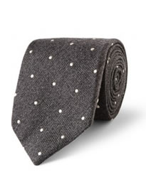Drakes Dot-embroidered Wool And Silk-blend Tie
