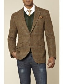 Moss 1851 Tailored Fit Overcheck Jacket Brown