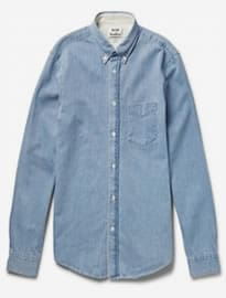 Acne Studios Isherwood Button-down Collar Washed-denim Shirt