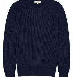 Reiss Jenga Textured Crew Neck Jumper Navy