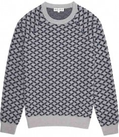 Reiss Jaguar Boiled Wool Jacquard Jumper Grey