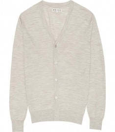 Reiss Walter Mercerised Merino Cardigan Grey