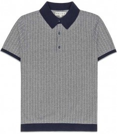 Reiss Larry Patterned Polo Shirt Navy