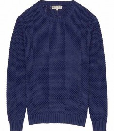 Reiss Pilot Textured Cotton Kn It Bright Navy