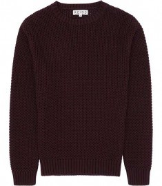 Reiss Pilot Textured Cotton Knit Wine Berry