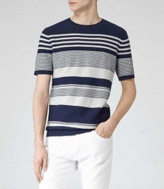 Reiss 1971 Jackson Knitted Short Sleeve T-shirt Navy