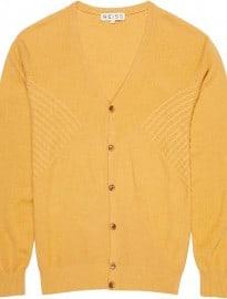 Reiss Lorimer Multi Panel Cardigan Apricot