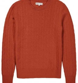 Reiss Buffalo Felted Cable Crew Blood Orange