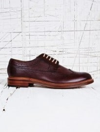 Grenson Leather Grain Longwing Brogues In Burgundy