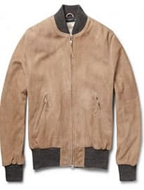 Club Monaco Golden Bear Suede Bomber Jacket