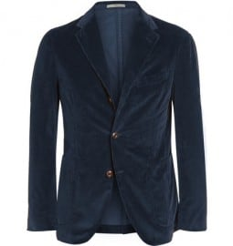 Boglioli Navy Slim-fit Stretch Cotton-corduroy Blazer