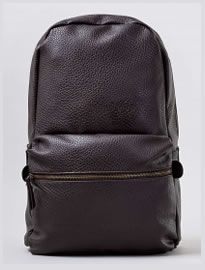 Topman Brown Leather Look Backpack