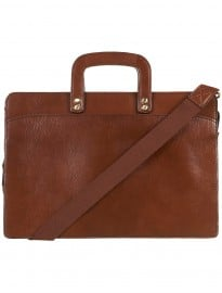 Topman Tan Leather Zip Briefcase