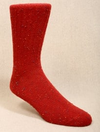Red Tweed Crew Socks