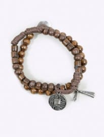 Wooden Cross Coin Bracelet
