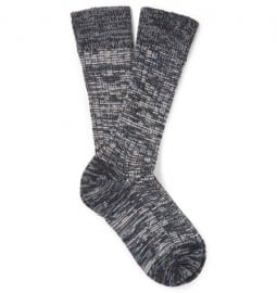 The Workers Club Marled Merino Wool-blend Socks