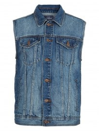 Topman Mid Wash Denim Gilet