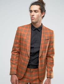 Asos Slim Suit In Tartan Check