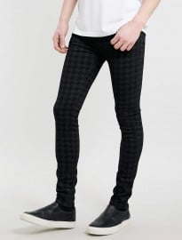 Topman Black Dogtooth Print Spray On Skinny Jeans