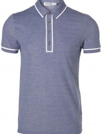 Topman Blue Smart Tipped Polo T-shirt
