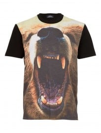 Topman Black Bear Head Print T-shirt