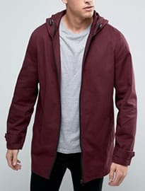 Asos Lightweight Parka Jacket In Burgundy