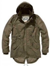 Khaki Cotton Hooded Parka Jacket