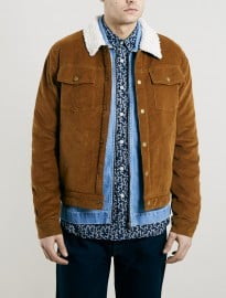 Topman Ltd Tan Cord Borg Lined Western Jacket