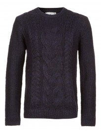 Topman Navy Chunky Cable Jumper