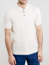 Topman Cream Cable Short Sleeve Knitted Polo Shirt