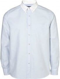 Topman Blue Contrast Collar Oxford
