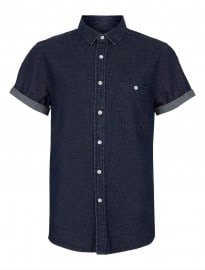 Topman Indigo Short Sleeve Denim Shirt