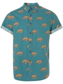 Topman Green Big Leopard Motif Short Sleeve Shirt