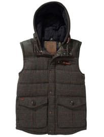 Grey Check Wool Blend Gilet