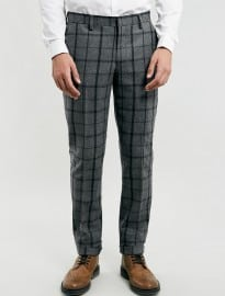 Topman Grey Window Pane Check Suit Trousers