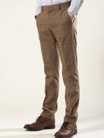 Topman Biscotti Check Skinny Suit Trousers