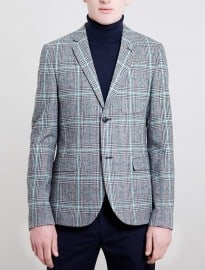 Topman Black And White Heritage Checked Blazer
