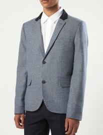 Topman Blue Herringbone Heritage Blazer