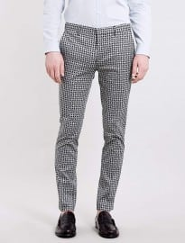 Topman Black And White Printed Ultra Skinny Trousers