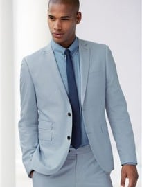 Next Pale Blue Cotton Skinny Fit Suit