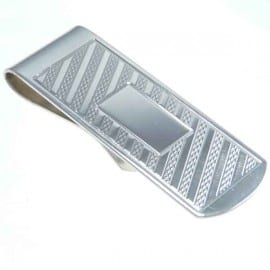 Sterling Silver Engine Turned Money Clip