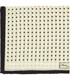 Reiss Hampton Micro Polka Dot Pocket Square Off White