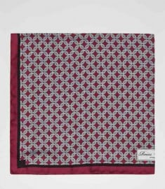 Reiss Abyss Chain Print Silk Pocket Square Cherry