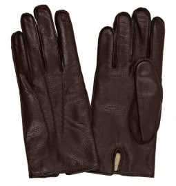 Reiss Tumble Textured Leather Gloves Chocolate
