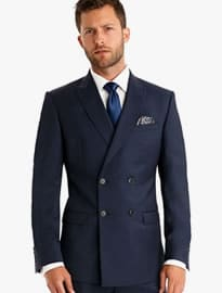 Moss 1851 Tailored Fit Blue Double Breasted Suit Jacket