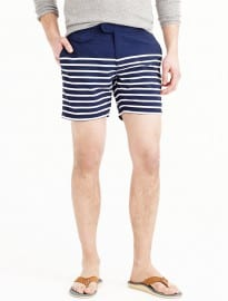 J. Crew 6.5 Tab Swim Short In Navy Stripe