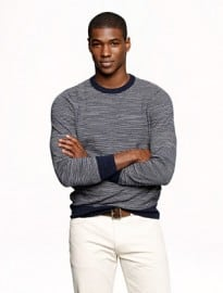 J. Crew Heathered Cotton Sweater In Stripe